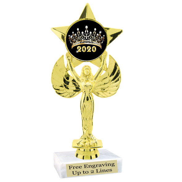 """NEW!  7  1/2""""  trophy with  colorful insert.  Includes choice of base and free engraved name plate.  (005"""