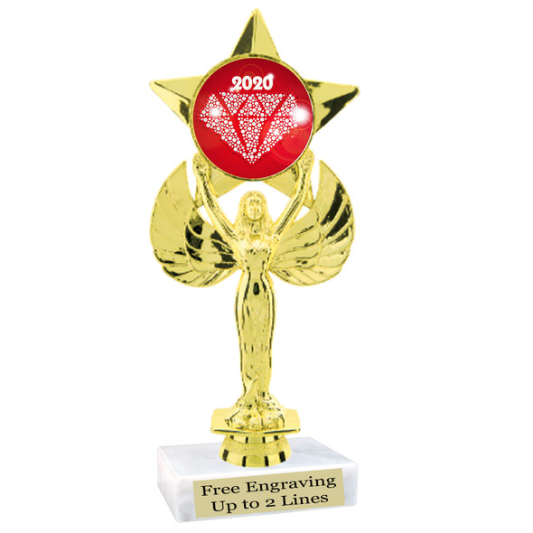 """NEW!  7  1/2""""  trophy with  colorful insert.  Includes choice of base and free engraved name plate.  (006"""