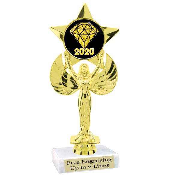 """NEW!  7  1/2""""  trophy with  colorful insert.  Includes choice of base and free engraved name plate.  (007"""