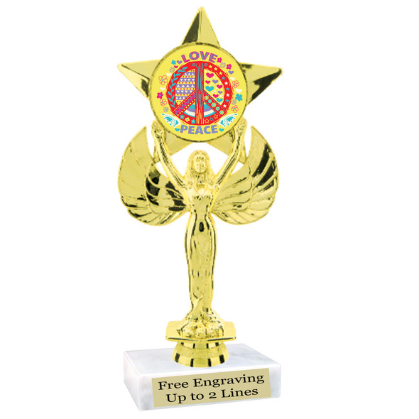 """NEW!  7  1/2""""  trophy with  colorful insert.  Includes choice of base and free engraved name plate.  (010"""