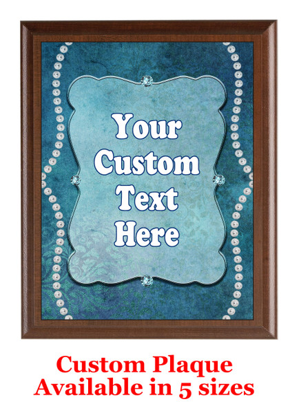Custom Full Color Plaque.  Brown plaque with full color plate.  5 Plaques sizes available - pag001