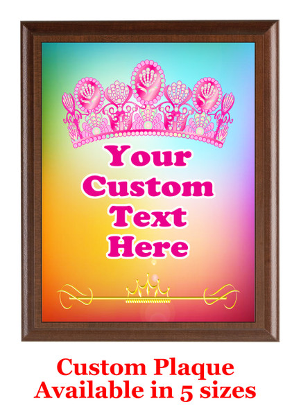 Custom Full Color Plaque.  Brown plaque with full color plate.  5 Plaques sizes available - pag002