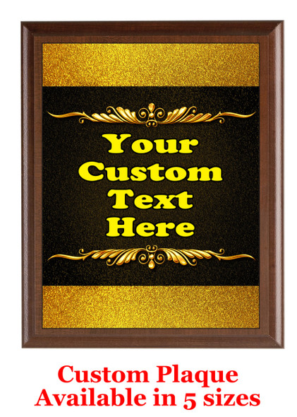 Custom Full Color Plaque.  Brown plaque with full color plate.  5 Plaques sizes available - pag008