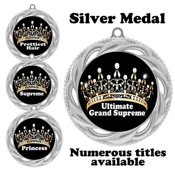 Silver Pageant Medal with Title Specific insert.  Numerous titles available.  (938s-crown 1)