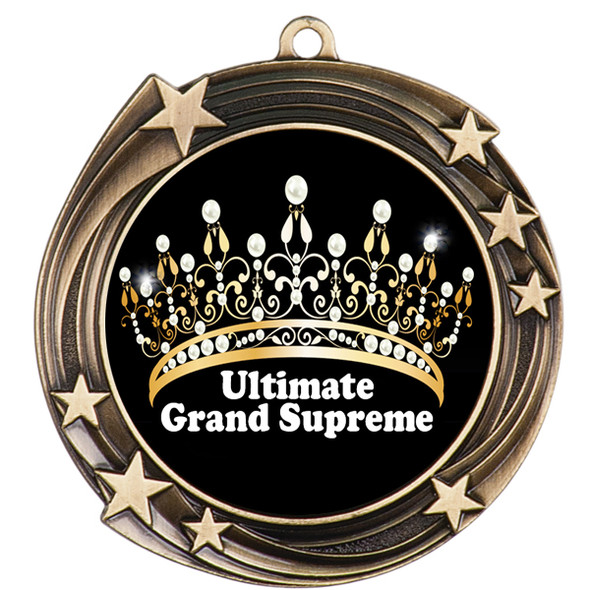 Pageant Medal with Title Specific insert.  Numerous titles available.  (930g-crown 1)