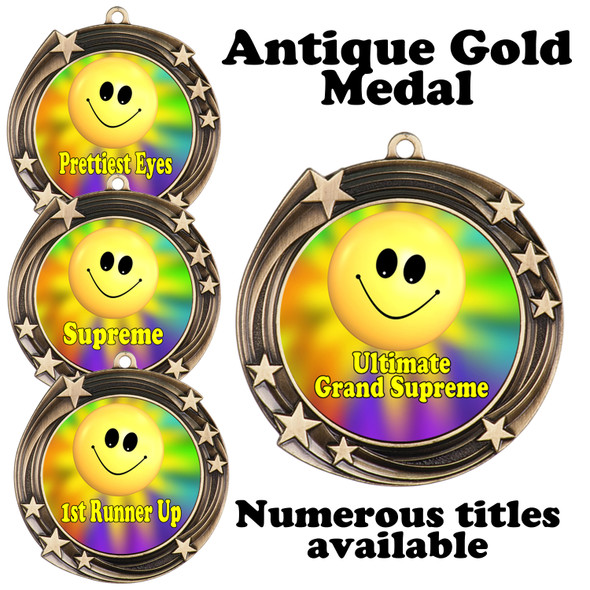 Pageant Medal with Title Specific insert.  Numerous titles available.  (930-smiley