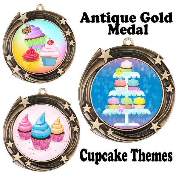 Cupcake theme medal.  Includes free engraving and neck ribbon.  (cupcake-930