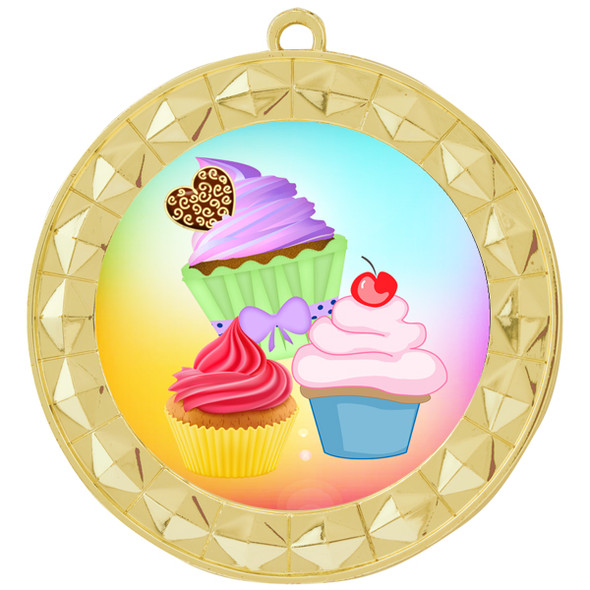 Cupcake theme medal.  Includes free engraving and neck ribbon.  (cupcake-935g