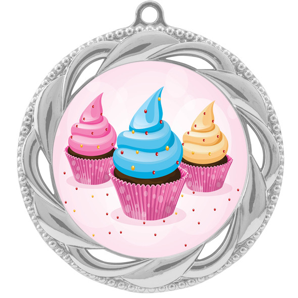 Cupcake theme medal.  Includes free engraving and neck ribbon.  (cupcake-938s