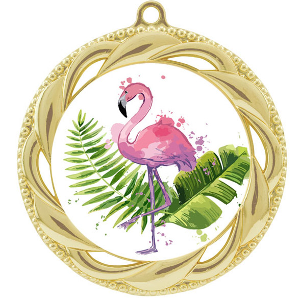 Flamingo theme medal.  Includes free engraving and neck ribbon.  (Flamingo - 938g