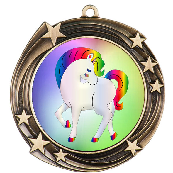 Unicorn theme medal.  Includes free engraving and neck ribbon.  (Unicorn 930