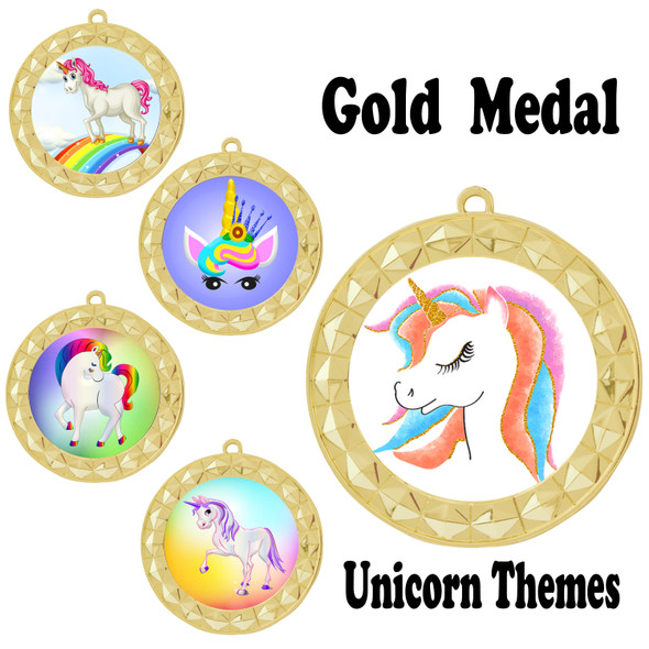 Unicorn theme medal.  Includes free engraving and neck ribbon.  (Unicorn 935g