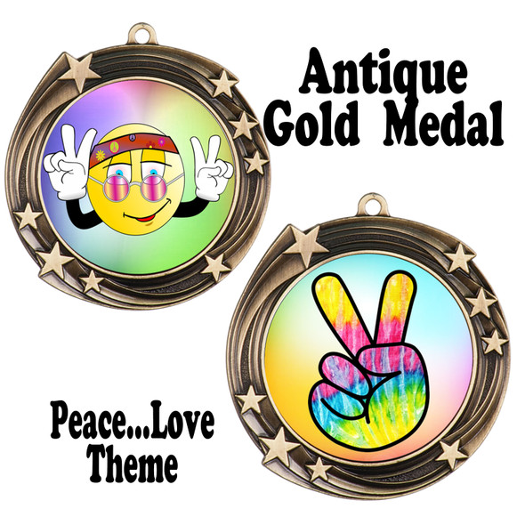 Peace theme medal.  Includes free engraving and neck ribbon.  (Peace 930