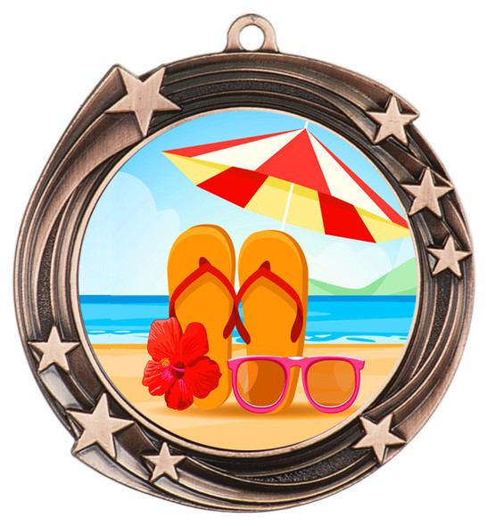 Summer - Beach theme medal.  Bronze medal finish.  Choice of 8 designs.  Includes free engraving and neck ribbon