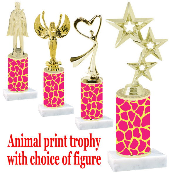 """Go """"wild"""" with your awards!  Animal Print Trophy with choice of figure and trophy height.  Trophy heights starts at 10"""" tall  (006"""