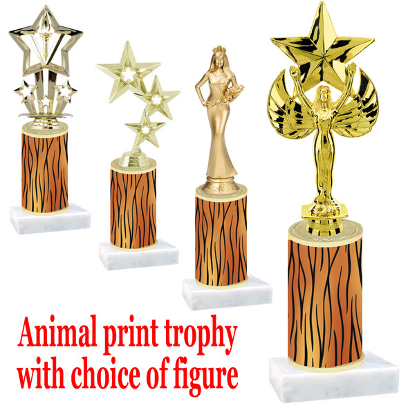 """Go """"wild"""" with your awards!  Animal Print Trophy with choice of figure and trophy height.  Trophy heights starts at 10"""" tall  (007"""