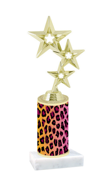 "Go ""wild"" with your awards!  Animal Print Trophy with choice of figure and trophy height.  Trophy heights starts at 10"" tall  (008"
