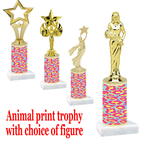 """Go """"wild"""" with your awards!  Animal Print Trophy with choice of figure and trophy height.  Trophy heights starts at 10"""" tall  (011"""