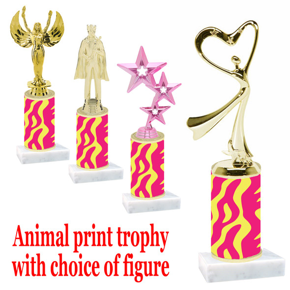 """Go """"wild"""" with your awards!  Animal Print Trophy with choice of figure and trophy height.  Trophy heights starts at 10"""" tall  (012"""