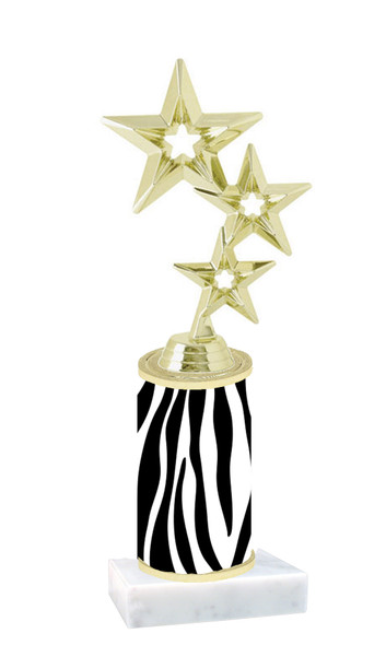 """Go """"wild"""" with your awards!  Animal Print Trophy with choice of figure and trophy height.  Trophy heights starts at 10"""" tall  (015"""