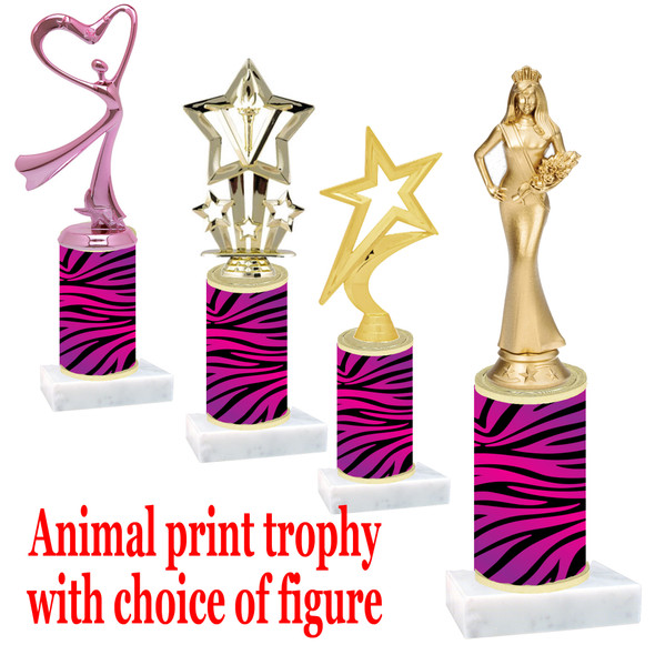 """Go """"wild"""" with your awards!  Animal Print Trophy with choice of figure and trophy height.  Trophy heights starts at 10"""" tall  (016"""