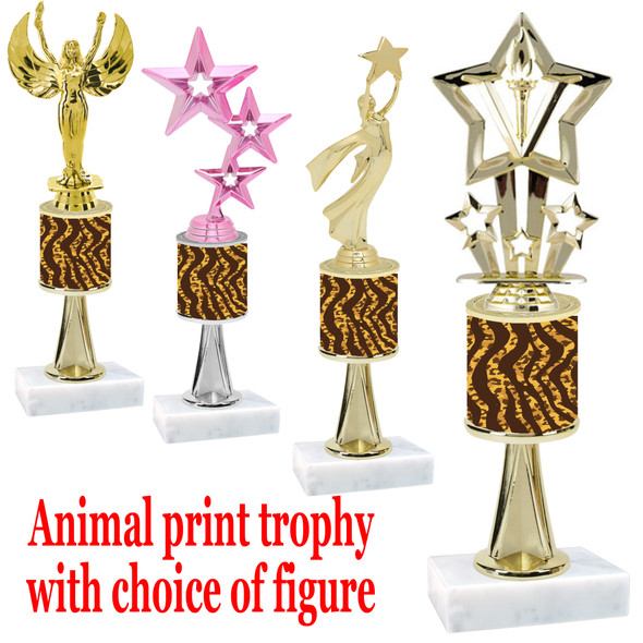 """Go """"wild"""" with your awards!  Animal Print Trophy with choice of figure and trophy height.  Trophy heights starts at 10"""" tall  (stem004"""