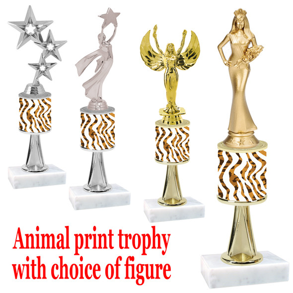 "Go ""wild"" with your awards!  Animal Print Trophy with choice of figure and trophy height.  Trophy heights starts at 10"" tall  (stem005"