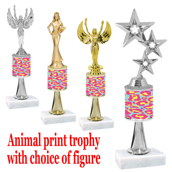 """Go """"wild"""" with your awards!  Animal Print Trophy with choice of figure and trophy height.  Trophy heights starts at 10"""" tall  (stem006"""