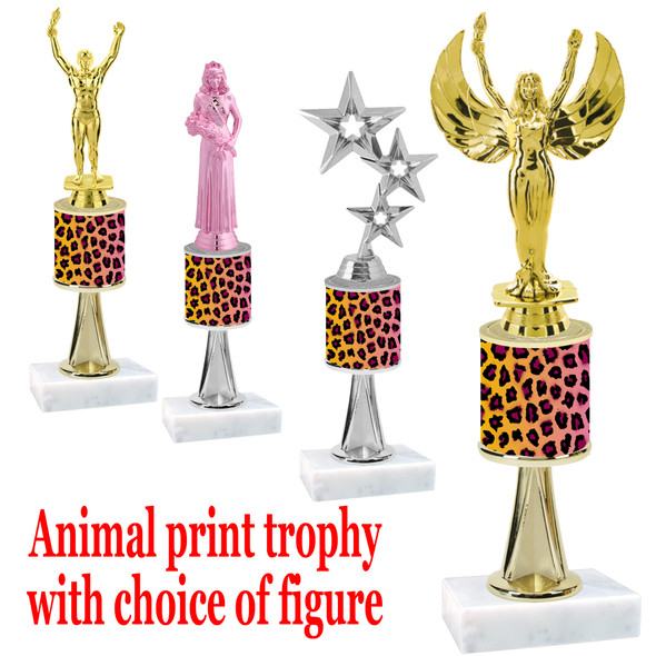 """Go """"wild"""" with your awards!  Animal Print Trophy with choice of figure and trophy height.  Trophy heights starts at 10"""" tall  (stem008"""