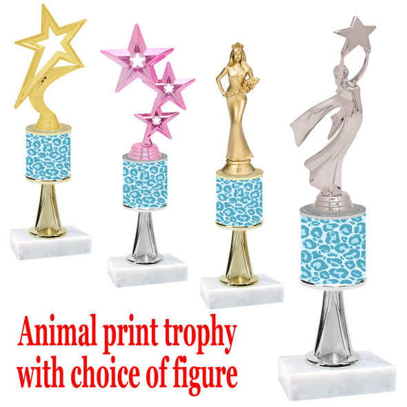 """Go """"wild"""" with your awards!  Animal Print Trophy with choice of figure and trophy height.  Trophy heights starts at 10"""" tall  (stem013"""