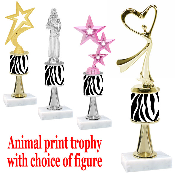 """Go """"wild"""" with your awards!  Animal Print Trophy with choice of figure and trophy height.  Trophy heights starts at 10"""" tall  (stem015"""