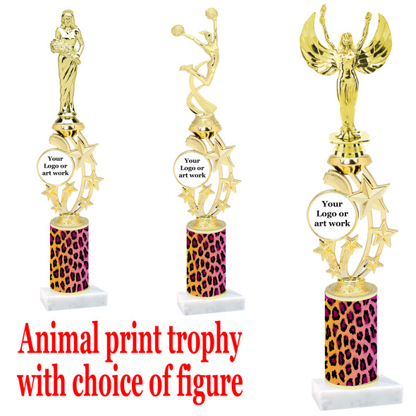 """Custom Trophy.  Animal Print column with choice of figure and trophy height.  Height starts at 14"""".  Upload your logo or custom art work.  (mr200-002"""