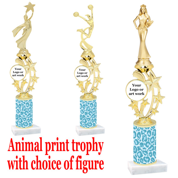 """Custom Trophy.  Animal Print column with choice of figure and trophy height.  Height starts at 14"""".  Upload your logo or custom art work.  (mr200-005"""