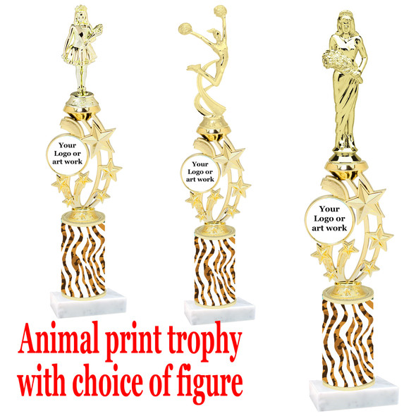 """Custom Trophy.  Animal Print column with choice of figure and trophy height.  Height starts at 14"""".  Upload your logo or custom art work.  (mr200-011"""