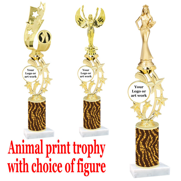 """Custom Trophy.  Animal Print column with choice of figure and trophy height.  Height starts at 14"""".  Upload your logo or custom art work.  (mr200-012"""