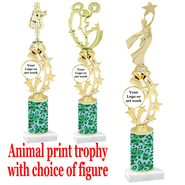 """Custom Trophy.  Animal Print column with choice of figure and trophy height.  Height starts at 14"""".  Upload your logo or custom art work.  (mr200-013"""