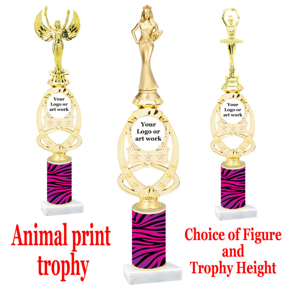 """Custom Trophy.  Animal Print column with choice of figure and trophy height.  Height starts at 14"""".  Upload your logo or custom art work.  (mr700-002"""