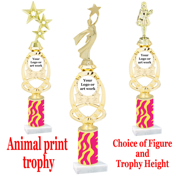 """Custom Trophy.  Animal Print column with choice of figure and trophy height.  Height starts at 14"""".  Upload your logo or custom art work.  (mr700-007"""