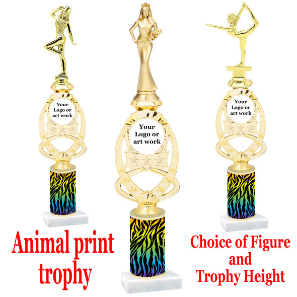 """Custom Trophy.  Animal Print column with choice of figure and trophy height.  Height starts at 14"""".  Upload your logo or custom art work.  (mr700-008"""