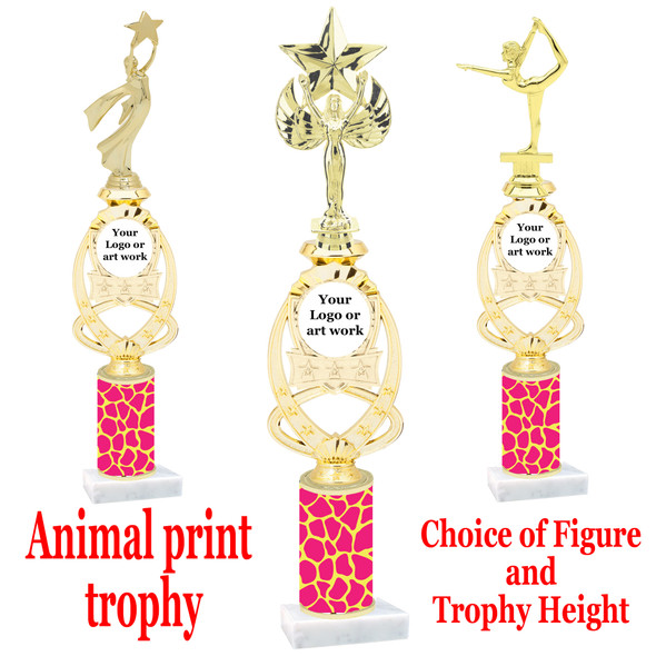 """Custom Trophy.  Animal Print column with choice of figure and trophy height.  Height starts at 14"""".  Upload your logo or custom art work.  (mr700-011"""