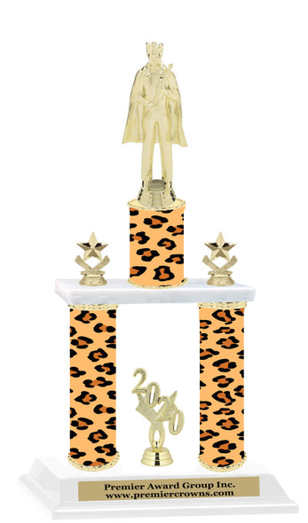 "Animal Print 2-Column trophy with choice of trophy height and numerous figures available.  Go ""Wild"" with your awards!"