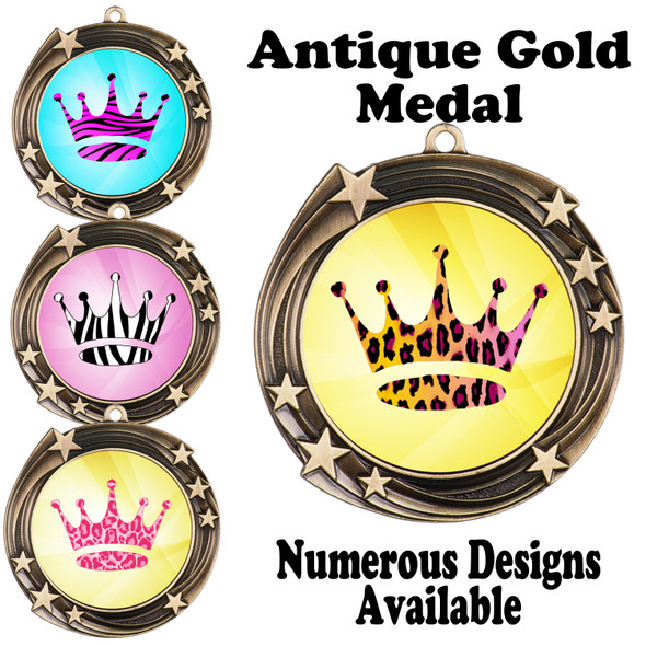 Animal Print Medal.  Antique Gold medal finish.   Includes free engraving and neck ribbon.