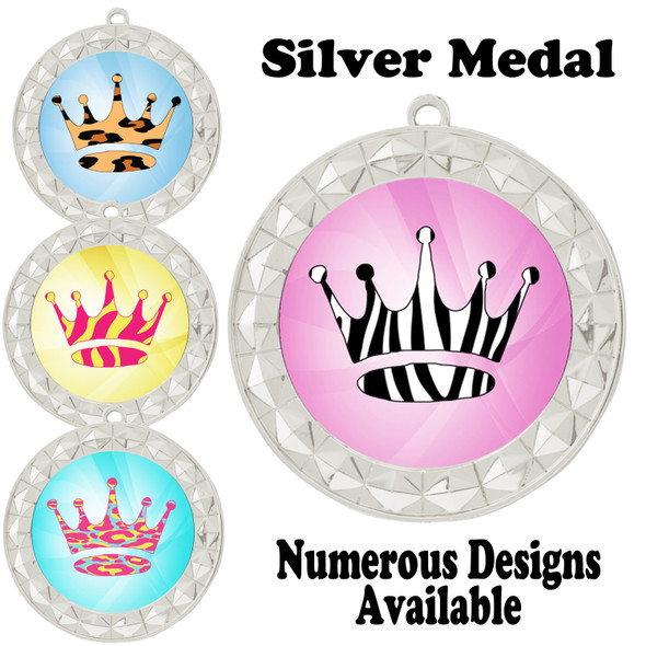 Animal Print Medal.  Silver medal finish.   Includes free engraving and neck ribbon.  935-S