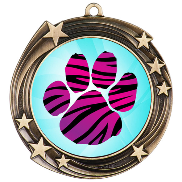 Animal Print Medal.  Antique Gold medal finish.   Includes free engraving and neck ribbon. 930g2