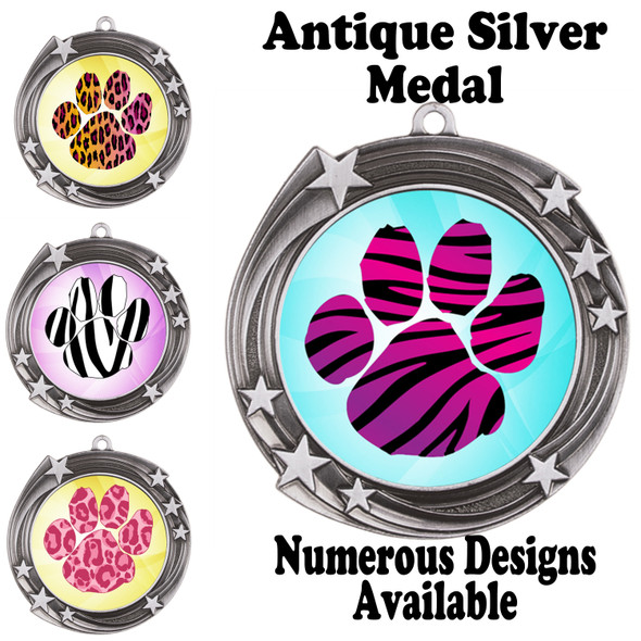 Animal Print Medal.  Antique Silver medal finish.   Includes free engraving and neck ribbon.  940s2