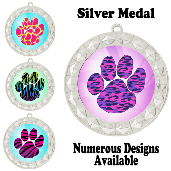 Animal Print Medal.  Silver medal finish.   Includes free engraving and neck ribbon.  935-S2