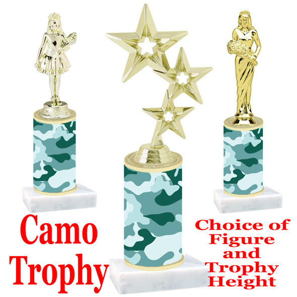 """Camo Trophy  with choice of figure and trophy height.  Trophy heights starts at 10"""" tall  - 002"""