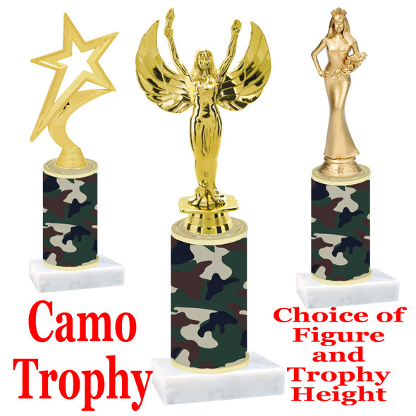 """Camo Trophy  with choice of figure and trophy height.  Trophy heights starts at 10"""" tall  - 003"""