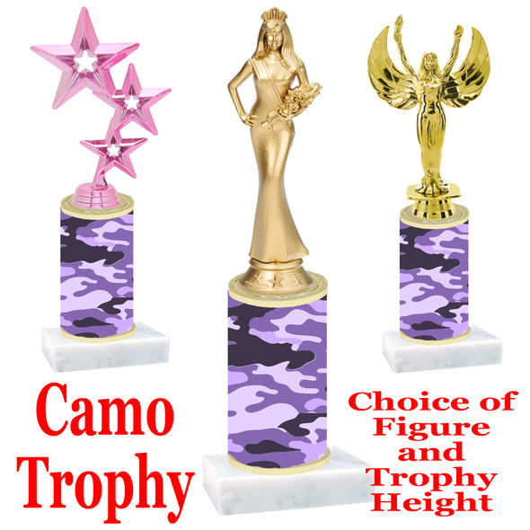 """Camo Trophy  with choice of figure and trophy height.  Trophy heights starts at 10"""" tall  - 005"""
