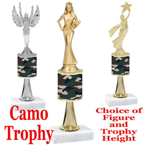 """Camo Trophy  with choice of figure and trophy height.  Trophy heights starts at 10"""" tall  - stem 002"""
